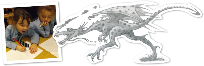Kids drawing, and a dragon sketch